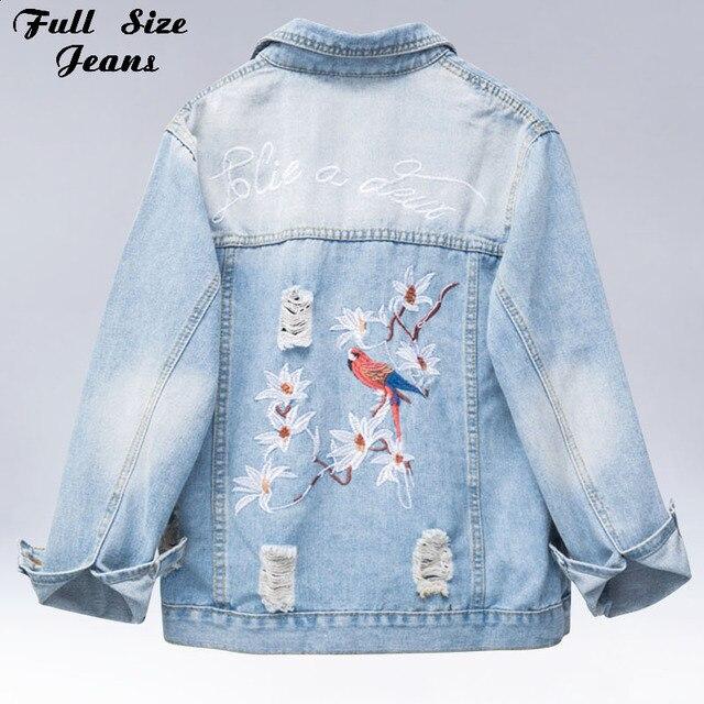 new product bc4ff 4f6fc Plus Size Strappato Uccello Ricamo Giacca di Jeans Corti 3Xl 4Xl 5Xl  Autunno Inverno Donne Casual Outwear Femminile Cappotto del Denim Di Base