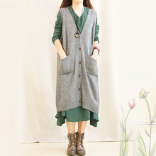 The loose sweater vest in long sweater cardigan sleeveless jacket vest vest cape coat women's spring