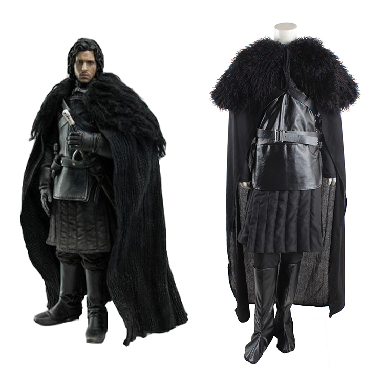 2016 New Halloween Winter Jacket Adult Mens Game of Thrones Cosplay Costume Jon Snow Cosplay Costume Outfit Full Set