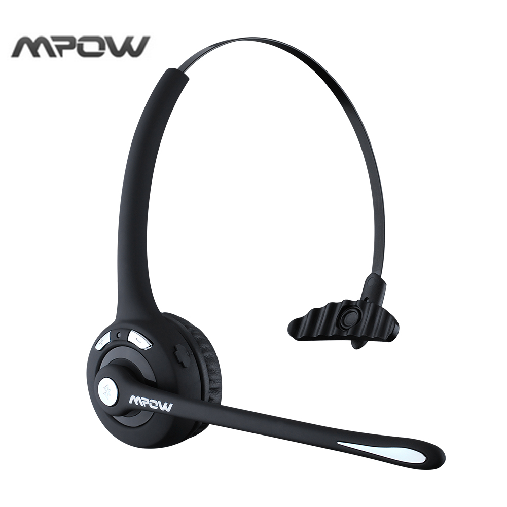 Mpow Professional Over-the-Head Driver's Rechargeable Wireless Bluetooth Headset with Mic Hands-free Noise Cancelling Headphones sony mdrzx310ap over head headphones with mic