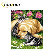RIHE Cat Baby Dog Drawing By Numbers Animal DIY Painting Handwork Cuadros Decoracion Oil Art Coloring Home Decor 2018