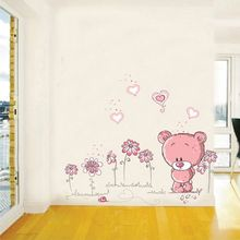 Pink Cartoon Kids Bedroom Wall Stickers Baby Children Room Decor Nursery Cute Teddy Bear Decal Animal Sticker Girl Gift