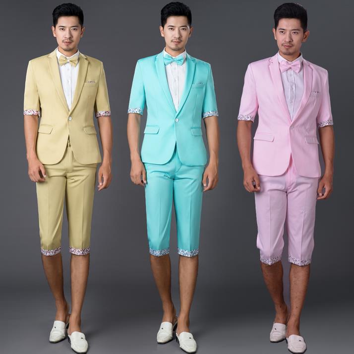 D'été Ensemble Costumes Ciel Cravate Costume Robe vert jaune Rose Marié Bleu Bleu Vert Mariage Pantalon 2019 Nouvelle Arrivée rose Avec Hommes Pour Mince Couleur OuZPkXi