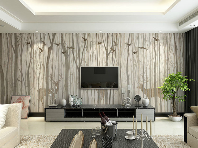 beibehang leinwand muster grau baum tiere hintergrund wald papel de parede 3d foto mural tapete. Black Bedroom Furniture Sets. Home Design Ideas