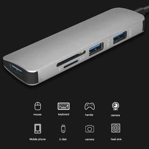 Image 5 - 5 في 1 USB C Hub إلى USB 3.0 /TF /SD محول شحن ميناء نوع C Hub ل ماك بوك برو سامسونج غالاكسي S8 S9 LG USB C HUB