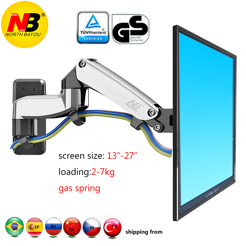 """NB F150 2-7kg 75x75 100x100 aluminum Gas spring 360 degree rotate tv mount bracket dual arm 17""""-27"""" lcd monitor stand mount(China)"""