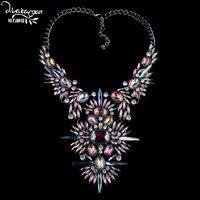 Dvacaman marca 2017 colar de pingente de cristal mulheres casamento nupcial de luxo strass colar declaração choker collar jóias k1