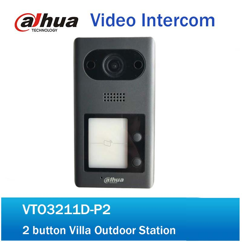 DH Video Intercom Doorbell VTO3211D-P2 IP 2-button Villa Outdoor Station intercom Video Door Phone Without Logo free shipping video intercom dahua video door phone building intercom apartment outdoor station system without logo vto1210a x
