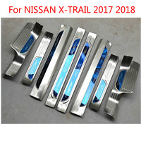 For Nissan X Trail X Trail 2017 2018 Accessories Door Sill Scuff Plate Guard Stainless Door Sills Protector Sticker Car Sty