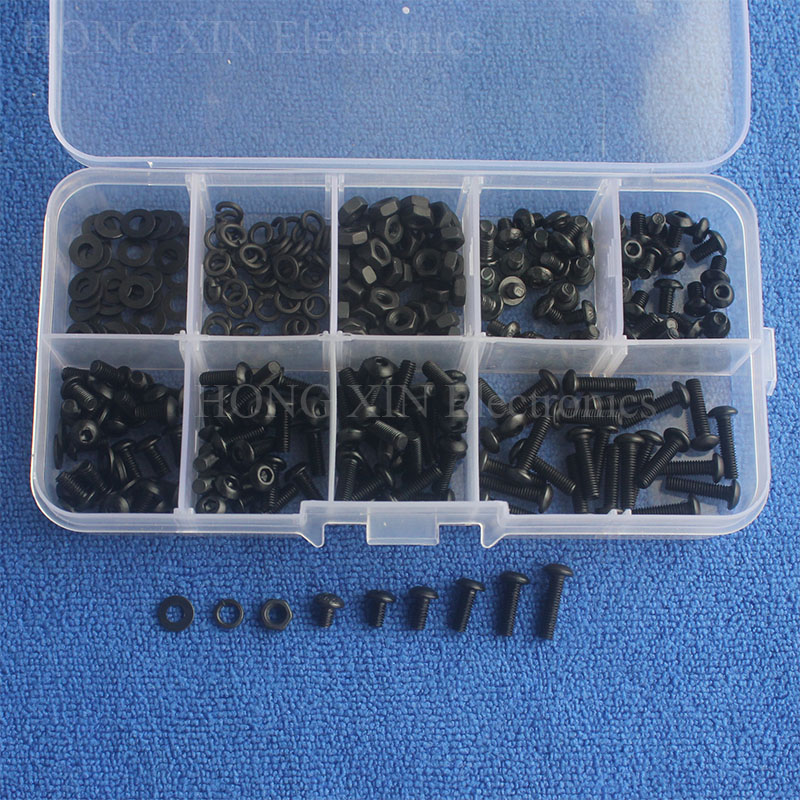 300pcs/set Assortment Kit M3 Black Screws Set Alloy Steel Cap/Flat/Button Head Hex Socket Screw Bolt with Nuts Washers Hardware m4 x 12mm alloy steel hex bolt socket head cap screws black 50 pcs