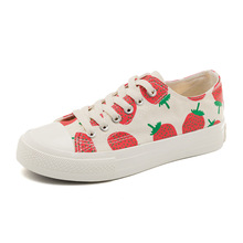 student Spring New Korean Breathable  Comfortable Strawberry pattern High quality flat canvas Womens Shoes Not grind feet