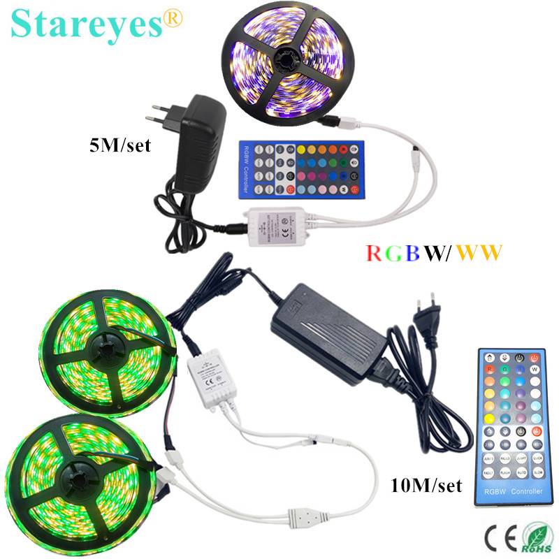 цена на 1 Set 5m 10m SMD 5050 RGBW RGBWW IP20 IP65 Waterproof LED Ribbon RGB W LED Strip light +40 key Remote Controller +3A/6A Adapter