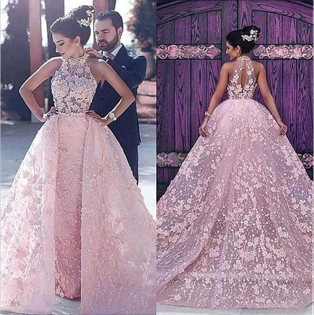 Pink Vestido De Noiva 2018 Muslim Wedding Dresses Lace 5d5c7d62f613
