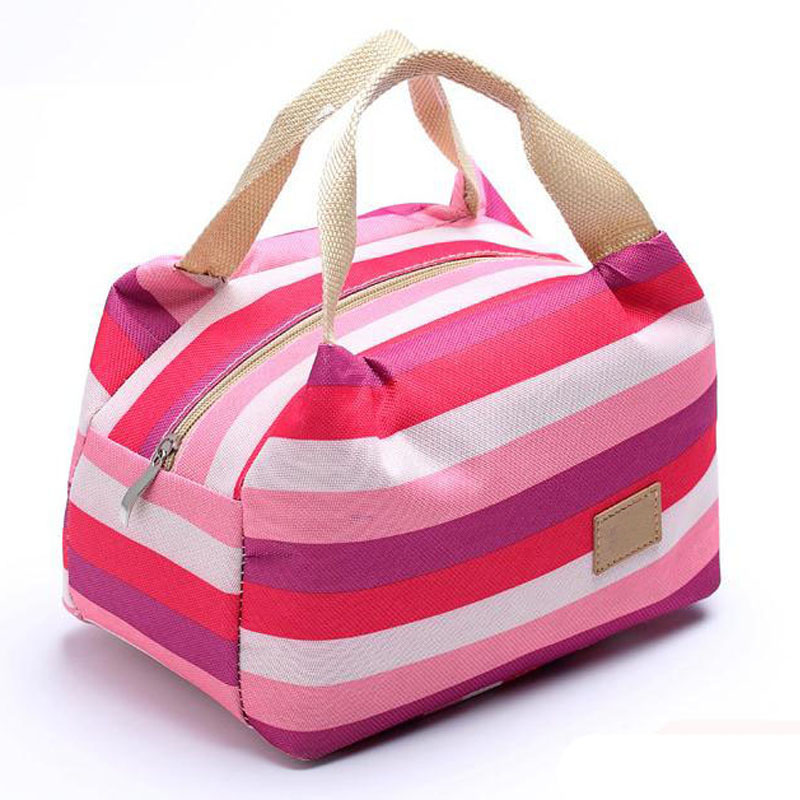 Canvas Durable Striation Zipper Lnsulated Lunch Bag Bento Box Cooler School Picnic Thermal Tote For Women Foldable