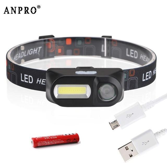 Anpro Mini COB LED Headlight Headlamp Head Lamp Flashlight USB Rechargeable 18650 Torch Camping Hiking Night Fishing Light