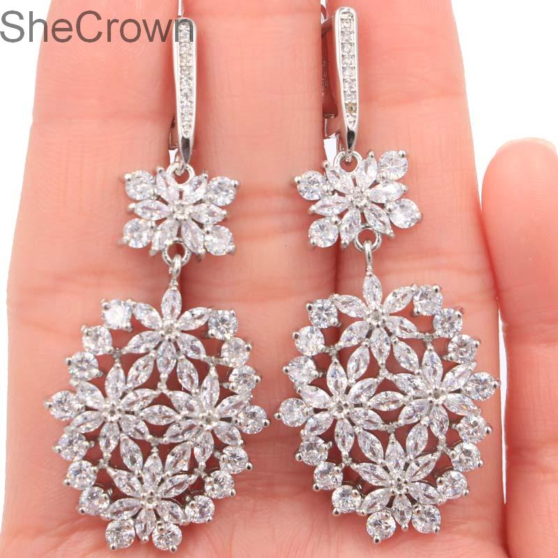 Fantastic Long Big White Sapphire Ladies Engagement Silver Earrings 56x23mm