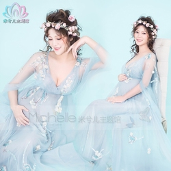 New Fancy Pregnancy Photo Shoot Studio Clothing Maternity Gorgeous Long Flower Dress Pregnant Photography Props Dress