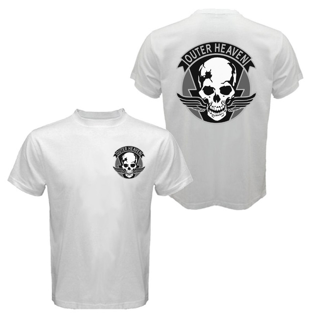 Outer Heaven The Metal Gear Solid MGS 5 V Phantom Pain Big Boss T shirt Men two sides casual cotton gift tee USA Size S-3XL