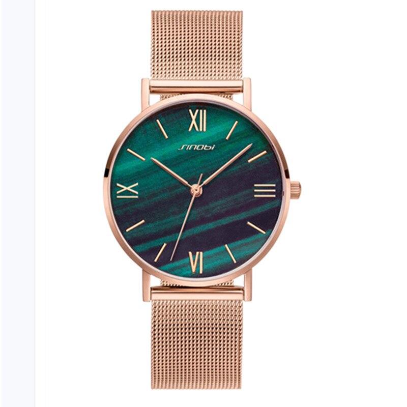 SINOBI Simple Women's Watches Gold Watchband Calendar Green Top Luxury Brand Crystal Quartz Clock Ladies Wristwatch Reloj Mujer