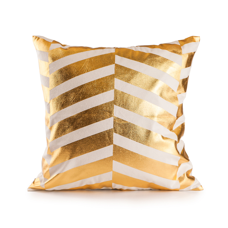 custom made european and american style pillow cover gold foil stripes chair cushion comfortable and soft decorative pillows
