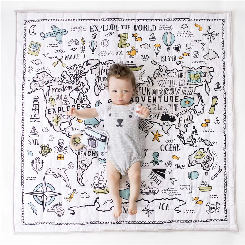 цена на Cute Explore the world Baby Play Mats Developing Baby Crawling Blanket Carpet Nordic Style Kids Room Home Decoration Photo Props