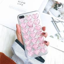 Gimfun Pink Sparkling Love Heart Phone Case for Iphone 7 8 Plus X 6 6s 6plus Xs max Xr Clear soft TPU Sequins Glitter Case Cover(China)