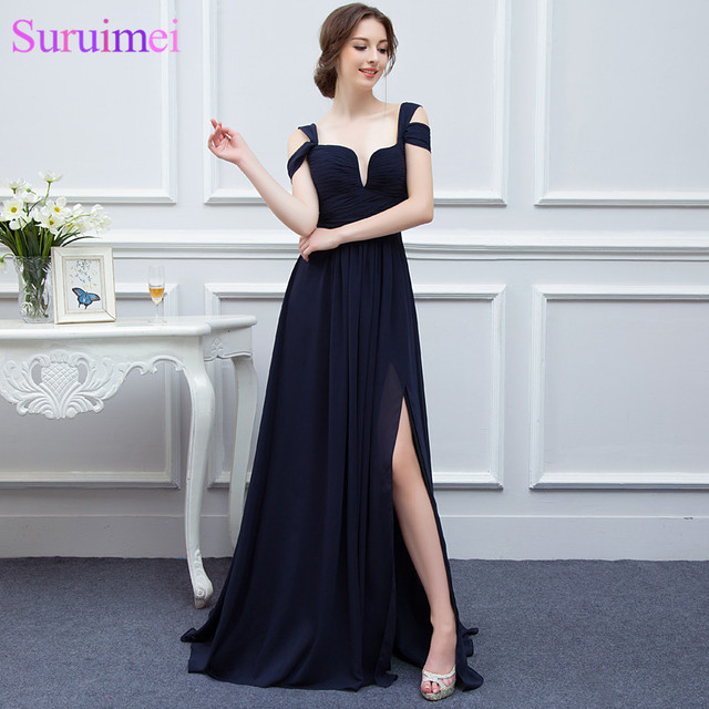 Bariano Ocean Navy Blue Color Chiffon Long Events Prom Dresses V