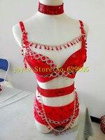 Women's Stage wear Costume Sexy Red Rhinestone Epaulet Bodysuit Crystal Design Dj Dancer Female Singer Nightclub Prom Dresses