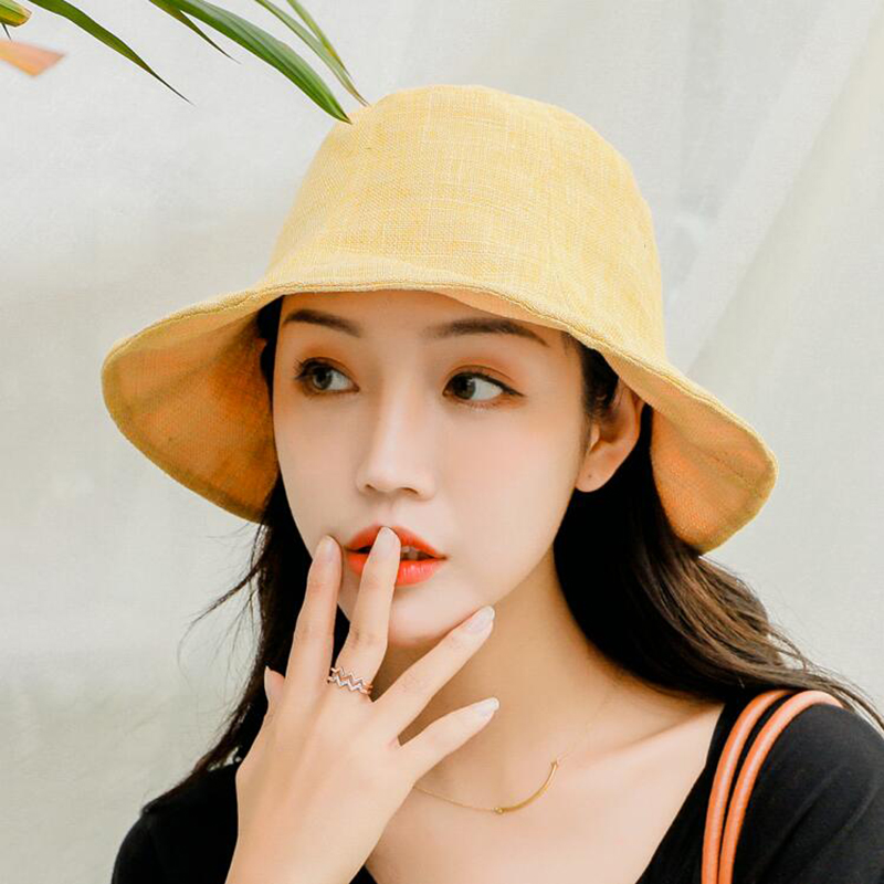 Fashion Foldable Fisherman Cap For Women Hip Hop Bucket Hat Cotton Linen Adult High Street Fishing Cap Outdoor Embroidery Cap in Women 39 s Bucket Hats from Apparel Accessories