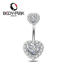 Body Punk 2018 New Belly Piercing Jewelry 316L 14G Double Heart AAA CZ Curved Barbell Girl Navel Piercing Ring Belly Button Ring