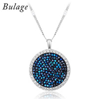 Bulage Rhodium Plated Round Pendant Necklaces for Woman Blue Crystal From Swarovski elements Luxury Necklace Accessories