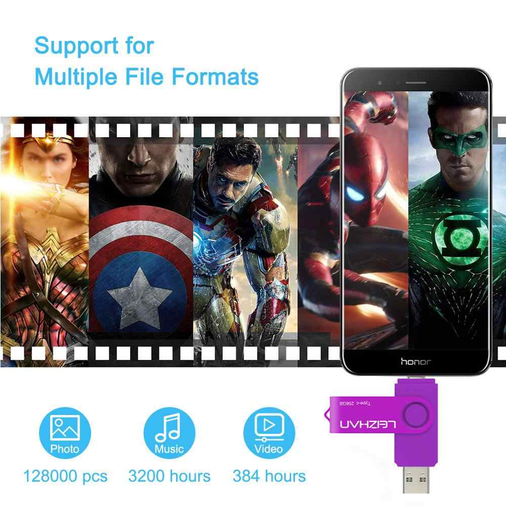LEIZHAN USB C דיסק און קי 256 gb TYPE-C PENDRIVE Usb 3.0 מהיר מהירות עט כונן 16 gb 32 gb 64 gb 128GB טיפו C Memoria USB מקל