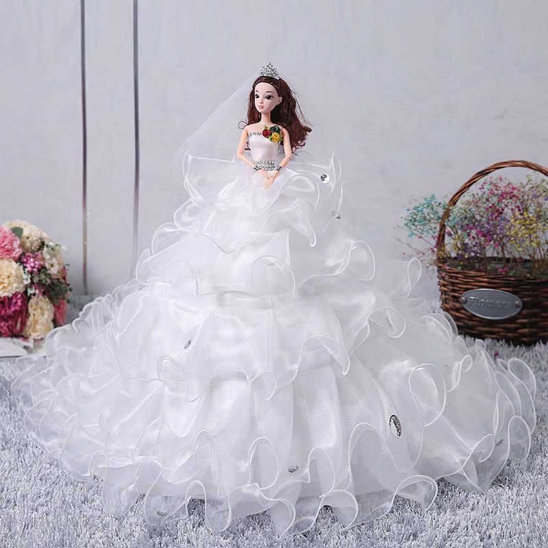 Мини кукла-невеста принцесса 90 см большой длинное свадебное платье ChildrenToy подарок на день рождения девушки свадебный подарок изысканные украшения
