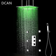 DCAN Luxury Rain Ceiling 20'' Shower Head LED Shower Set Faucets Tap Shower Kit With 6 Body 2'' Jet and Thermostatic Mixer Valve