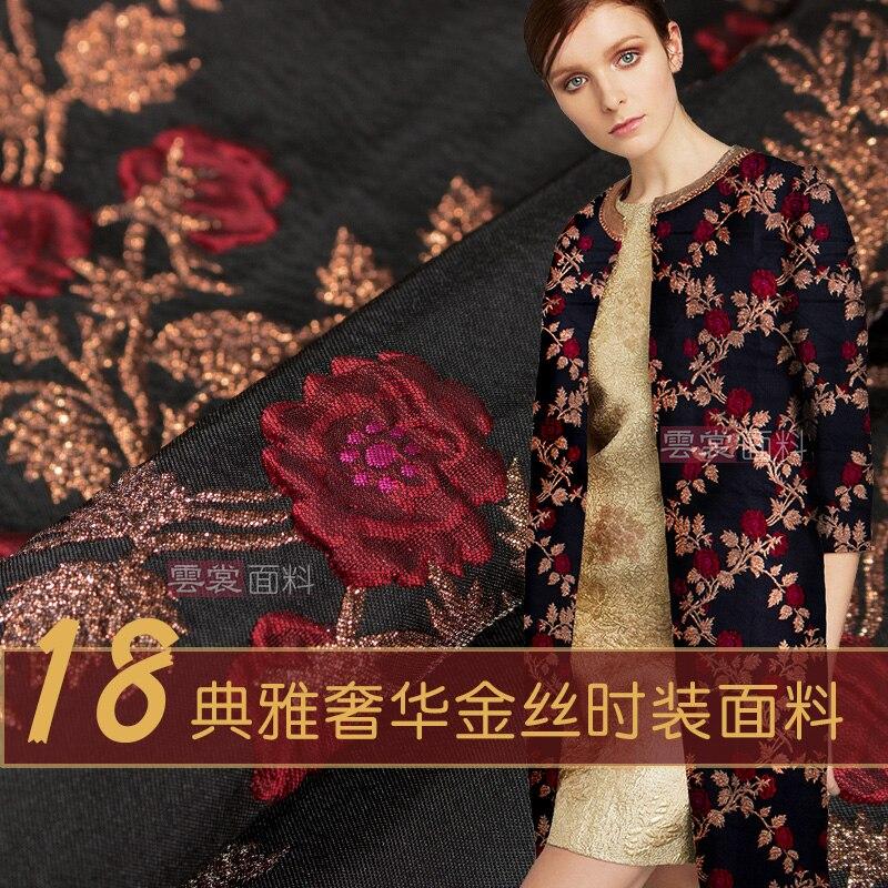156 cm mode jacquard tissu marque italienne teints en fil mode cheongsam robe jacquard tissu matériel en gros tissu