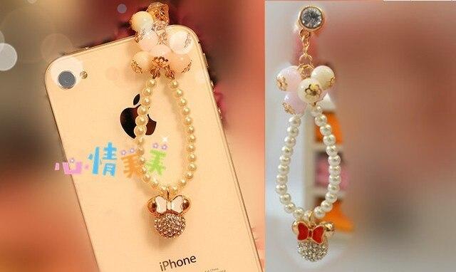 Fashion Cute New Pearl Chain Mickey Phone Dust Plug Cell Phone Accessories 3.5mm Earphone Dust Plug