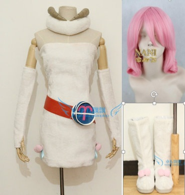 Free Shipping Custom-made Fairy Tail Aries Cosplay Costume Clothes And Shoes With Wig