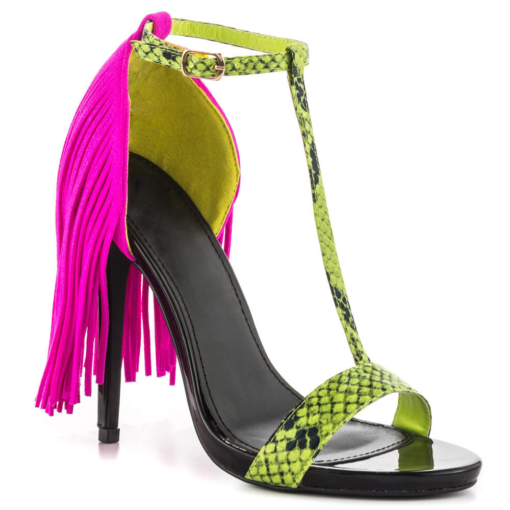 c30998b68 neon snakeskin print T bar sandals contract color suede full fringe covered  back sandals sexy buckle strap stiletto heels -in Women's Pumps from Shoes  on ...