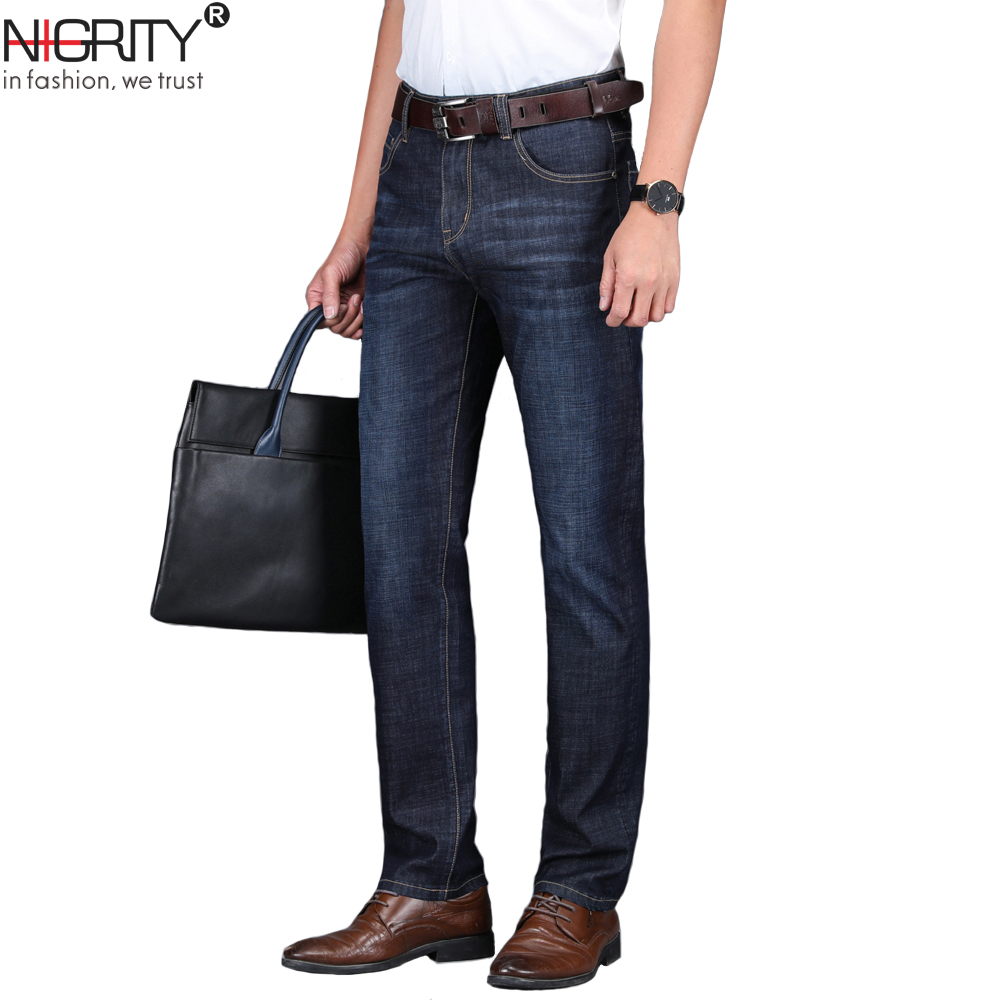 NIGRITY 2019 Spring New Men's Straight casual   jeans   Fashion thick denim trousers dark blue male pant big size 29-42