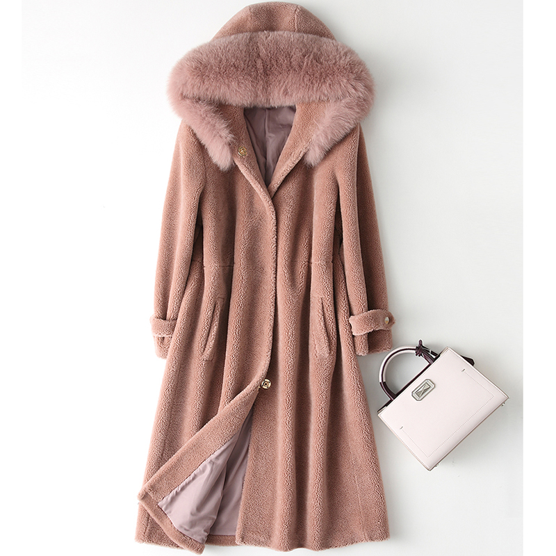2019 Women Real Sheep Shearing Fur Coat Fox Fur Collar Hooded Coats Medium Long Winter Jacket