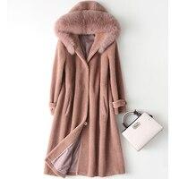 2019 Women Real Sheep Shearing Fur Coat Fox Fur Collar Hooded Coats Medium Long Winter Jacket Plus Size S 5XL