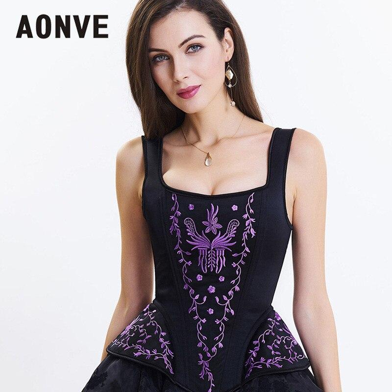 AONVE Women Steampunk Corset Vintage Gothic Korse Vest Blue Red Lace Up Punk Goth Bustiers Body Modeling Zipper Corselet
