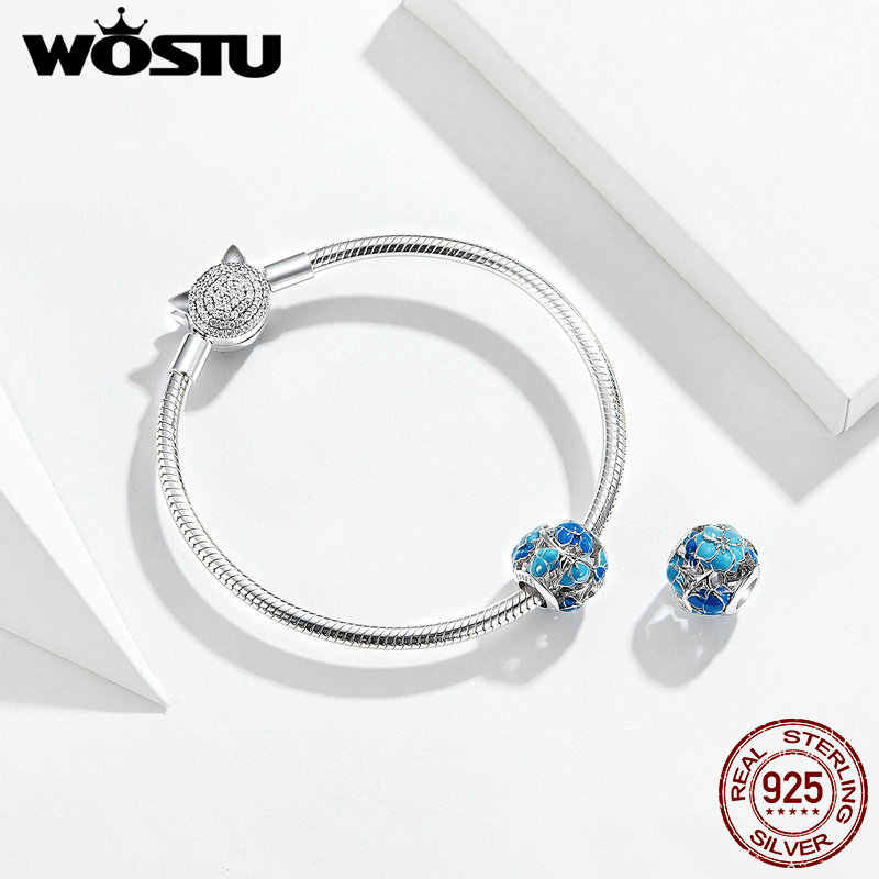 WOSTU כחול פריחת פרחי חרוזים 100% 925 סטרלינג כסף קסם Fit מקורי צמיד תליון תכשיטים ביצוע FNC087