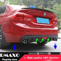 For BMW 118i 120i 125iM Body kit spoiler 2018 For BMW 1 series ABS Rear lip rear spoiler front Bumper Diffuser Bumpers Protector