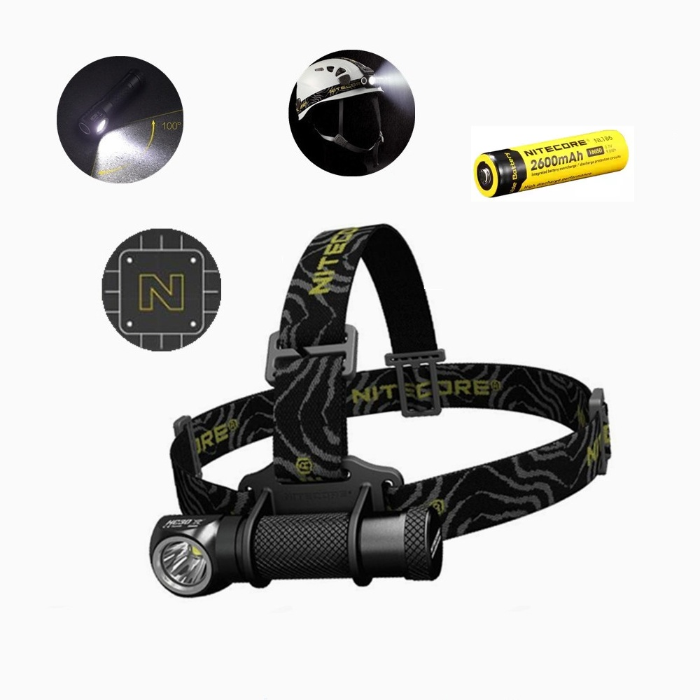 Nitecore HC30 Led Headlamp Cree XM-L2 U2 1000 Lumens HeadLight with NItecore NL186 18650 2600 battery for hiking, climbing, camp ip68 waterproof headlamp hr20 cree xp l hi led 1000 lumens headlight with built in usb charger by1x18650 2xcr123a battery