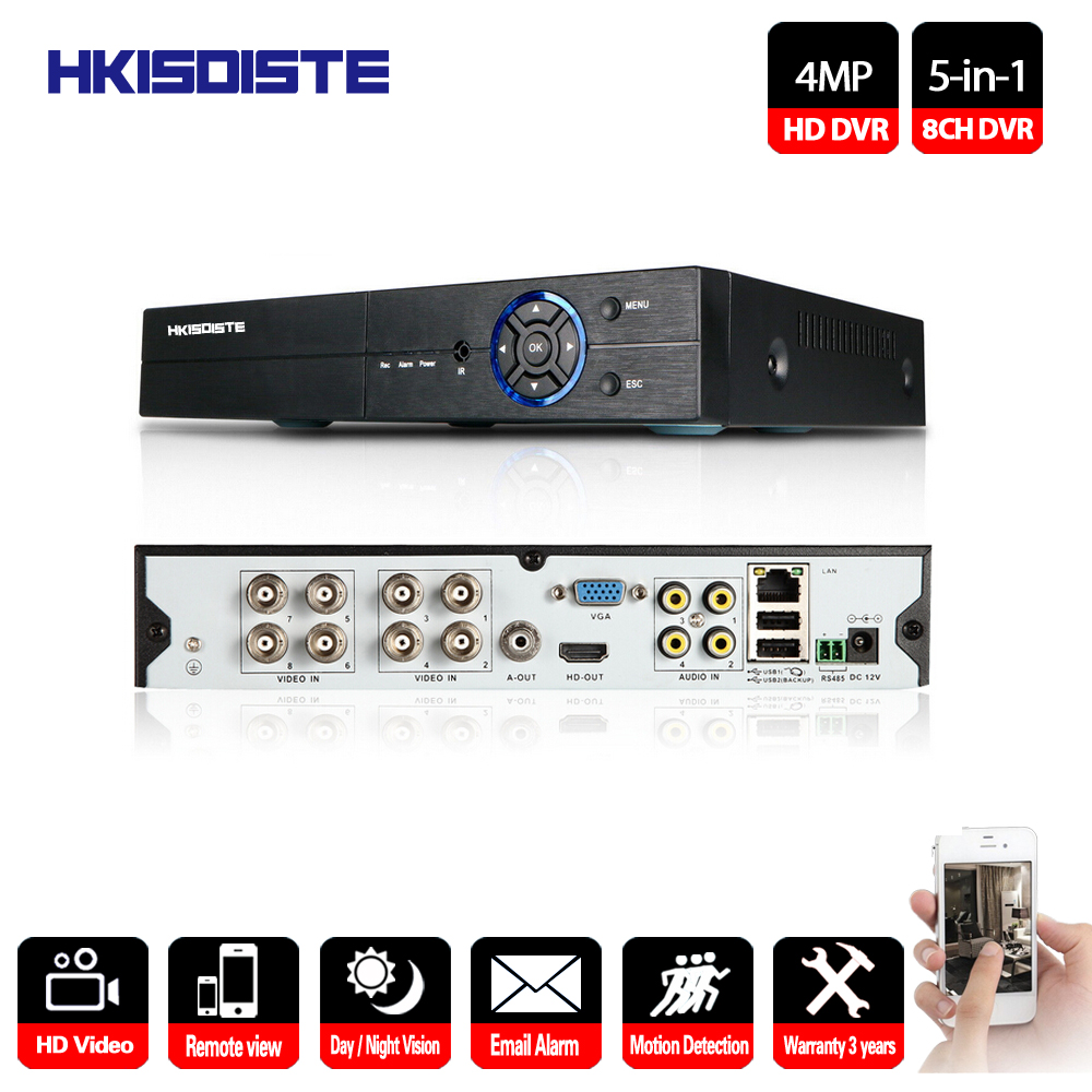 HKIXDISTE 8Ch CCTV DVR Kit 5 IN 1 Support AHD CVI TVI IP Camera Onvif 1080P 4MP CCTV NVR HVR NVR RS485 Coxial Control P2P View 5 in 1 4ch ahd dvr nvr hvr cctv 4ch 1080n hybrid security dvr recorder camera onvif rs485 coxial control p2p cloud