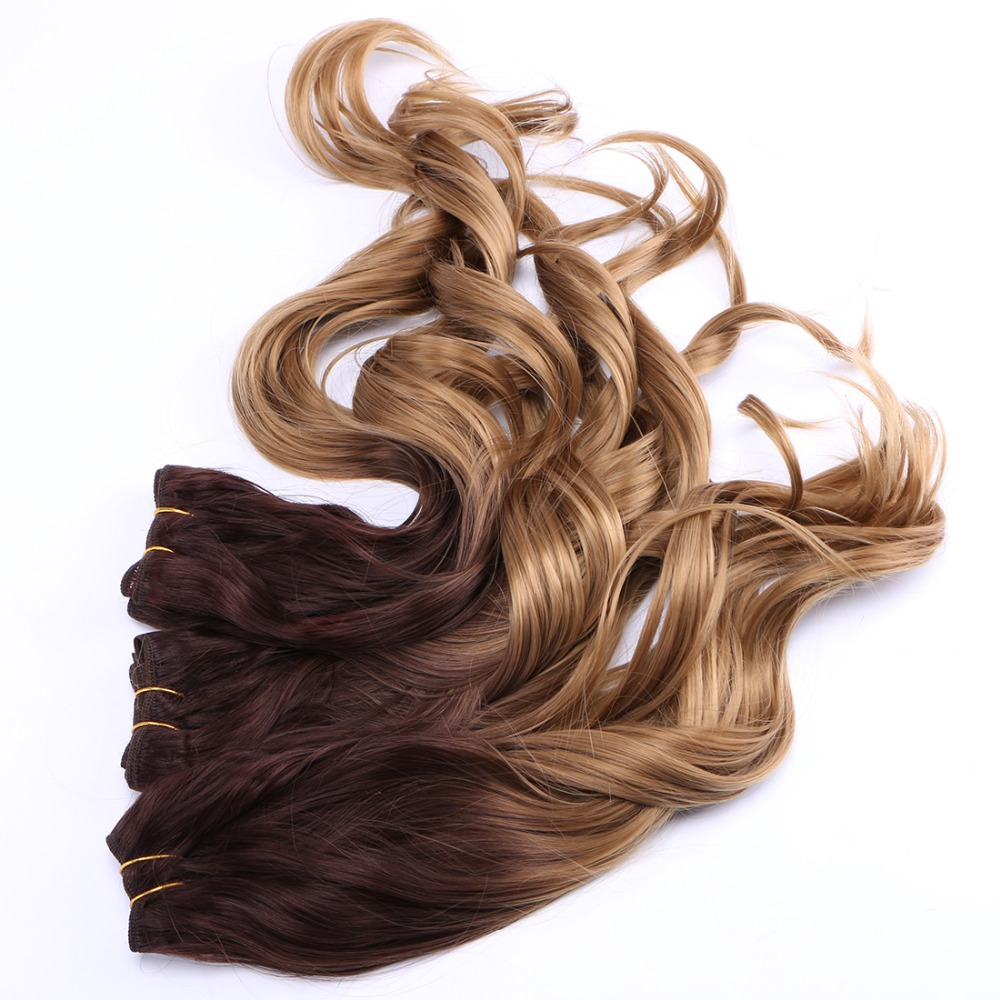 Brown To Golden Ombre Wavy Hair Bundles Synthetic Hair Extensions Hair Weaves 2pcs/Pack Hair Wefts