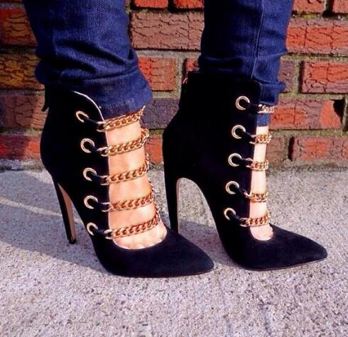 Fashion Apricot/Suede Leather Women Boots Sexy Point Toe Gold Chain Straps Ladies High Heel Boots Spring Hot Ankle Boots