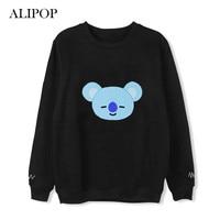 ALIPOP Kpop BTS BT21 Cartoon Album Thin Hoodie Hip Hop Loose Hoodies Clothes Pullover Printed Long