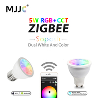 ZIGBEE LED Light Bulb E27 Bridge Dimmable RGBW 5W LED GU10 Spotlight E26 110V 220V 230V RGBCCT Smart App Control LED Lamp